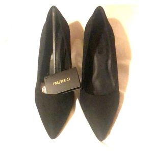 Forever 21 Black faux Swede pointy toe heels